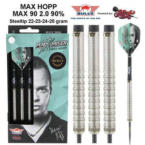 Max Hopp 2.0 Steel Tip Dart Set-90% Tungsten Barrels - shot-darts