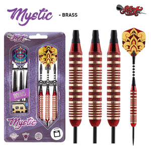 Mystic Red Steel Tip Dart Set-Colour Plated Brass Barrels - shot-darts
