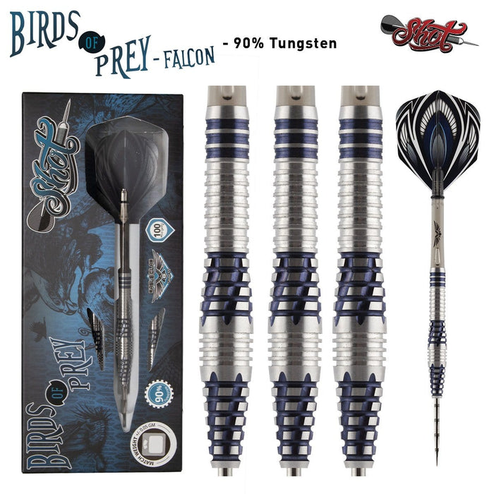Birds of Prey Falcon Steel Tip Dart Set-90% Tungsten Barrels - shot-darts