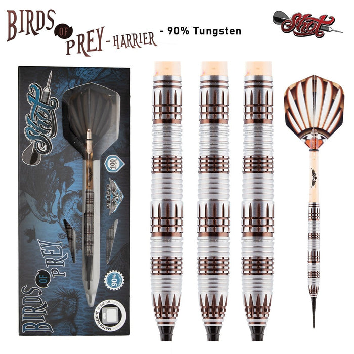 Birds of Prey Harrier Soft Tip Dart Set-90% Tungsten Barrels - shot-darts