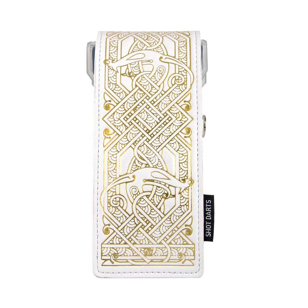 Shot Darts Insignia Dart Case - Viking White & Gold - shot-darts