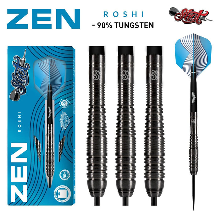 Shot Darts Zen Roshi Steel Tip Dart Set-90% Tungsten Barrels