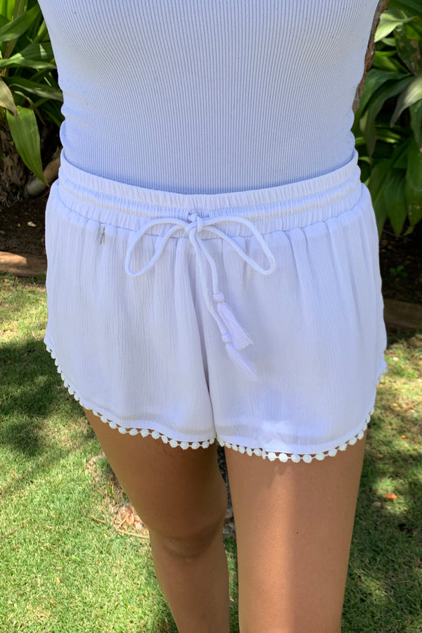 CL20 Crinkle Rayon Shorts White