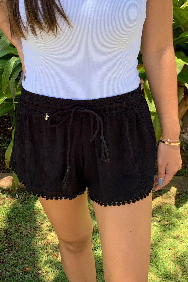 CL20 Crinkle Rayon Shorts Black