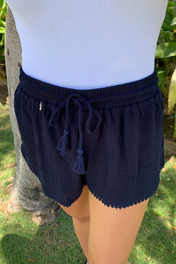 CL20 Crinkle Rayon Shorts Navy