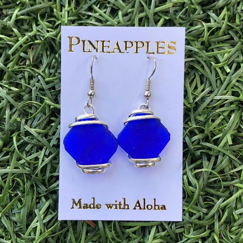 Sea Glass Earrings Royal Blue