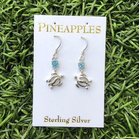 Sterling Silver Honu Dangle Earrings with Blue Topaz.