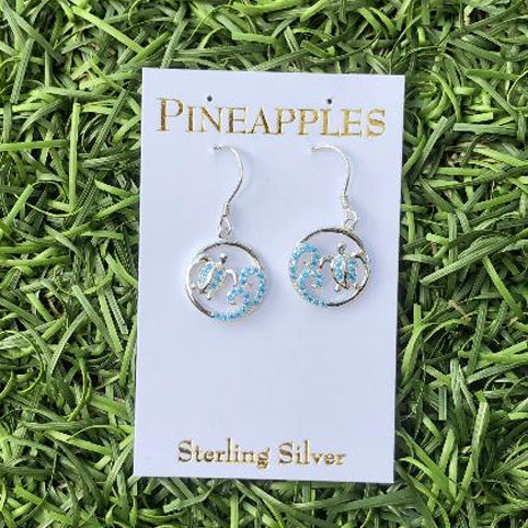 Sterling Silver Reiki Honu Earrings with Blue Topaz