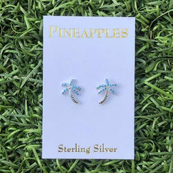 Sterling Silver Palm Tree Stud Earrings