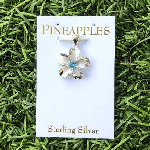 Sterling Silver Plumeria Pendant with Blue Topaz center