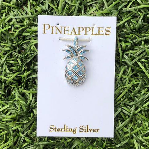 Sterling Silver Pineapple Pendant with Blue Topaz