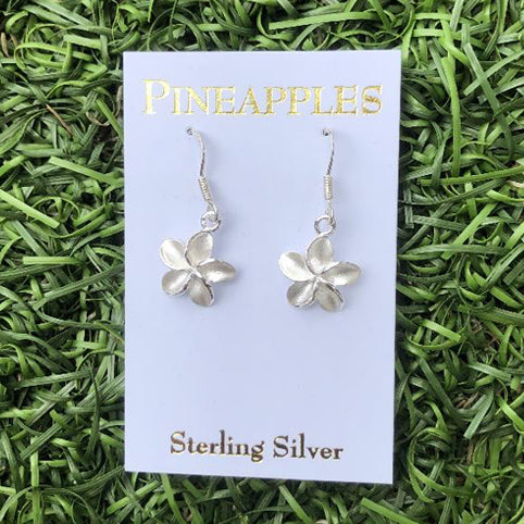 Sterling Silver Plumeria Dangle Earrings