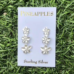 Sterling Silver Triple Plumeria Earrings