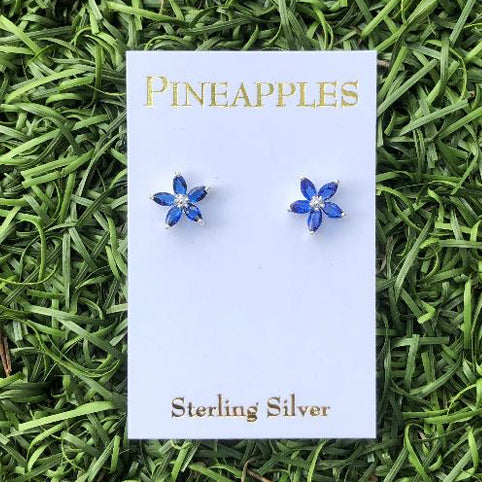 Sterling Silver Flower Studs-Blue