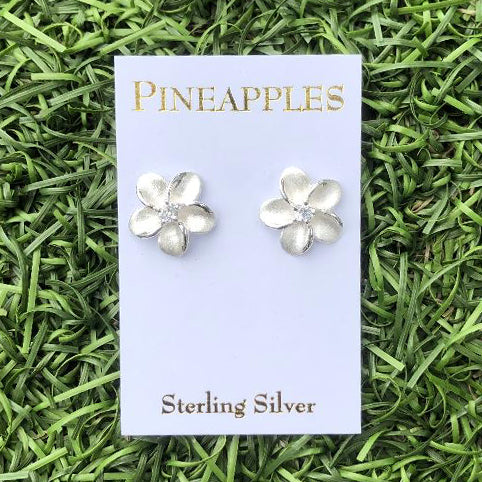 Sterling Silver Plumeria Studs with CZ center-Large