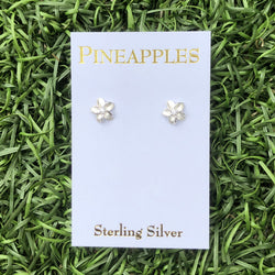 Sterling Silver Plumeria Studs with CZ center-small