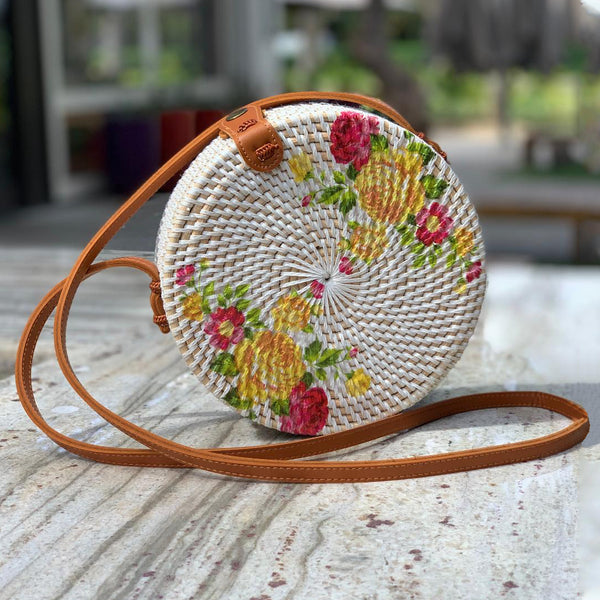 Tenganan Bag: Floral Painted Lattice Bag