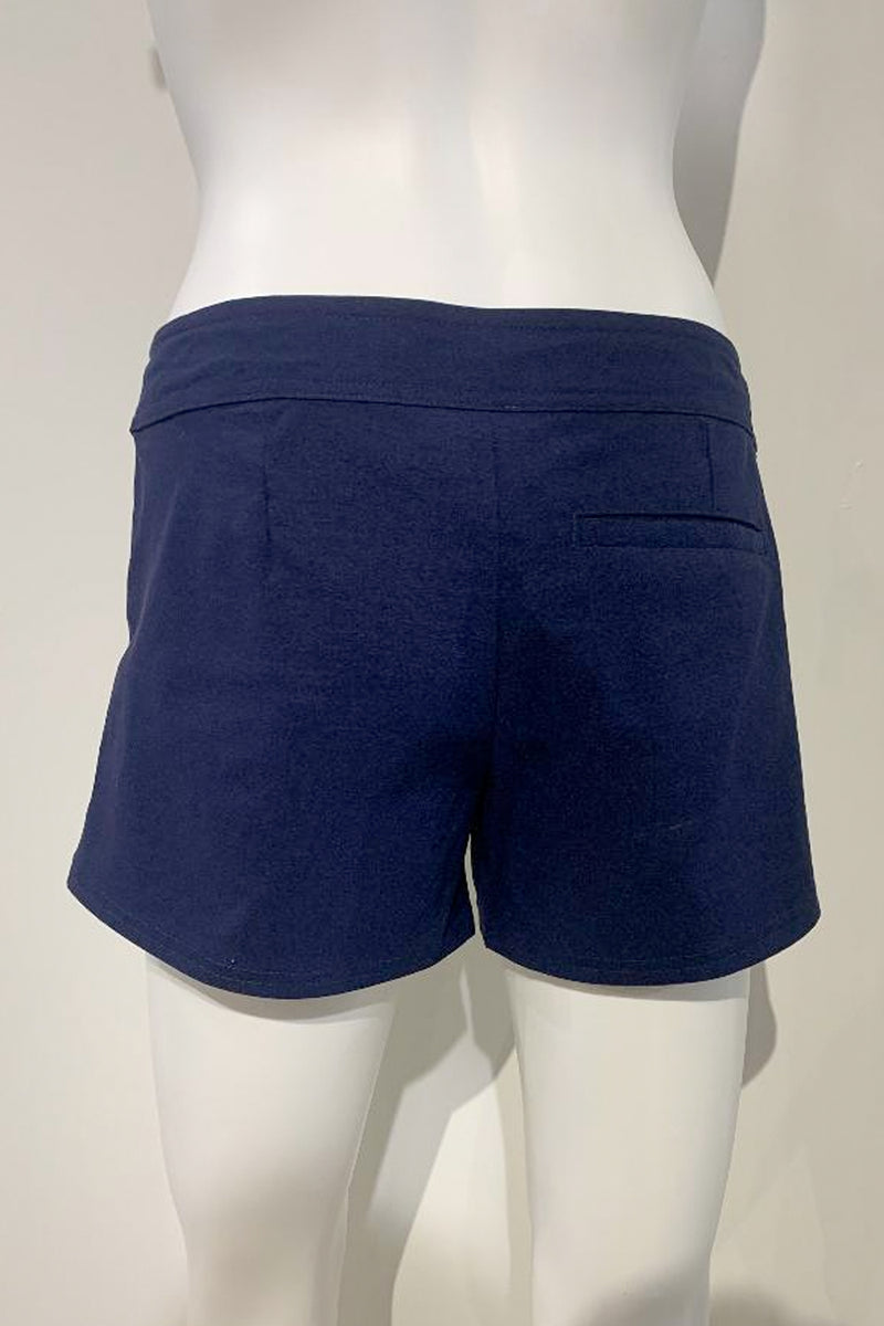 "Helen Jon: 4"" Lace-up Board Shorts in Navy"