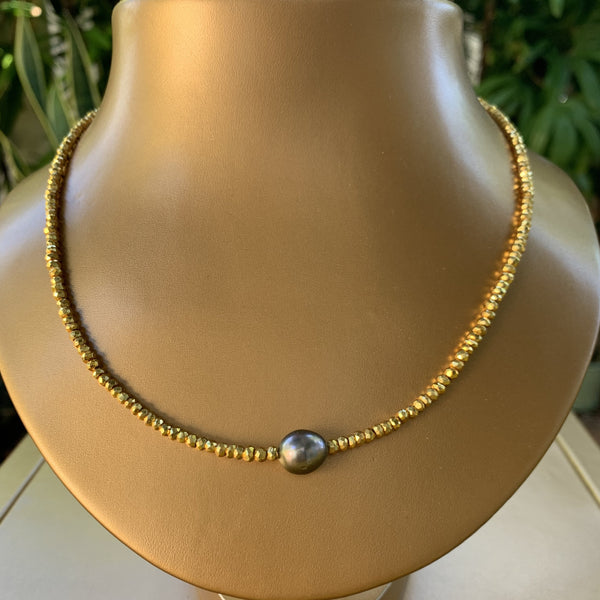 "18"" Gold Coated Pyrite with Tahitian Pearl Necklace"