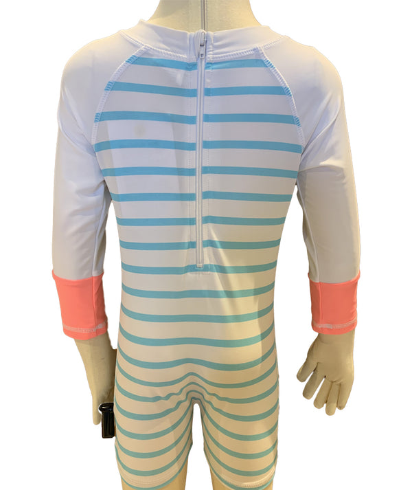 Snapper Long Sleeve Aqua Stripe Sunsuit