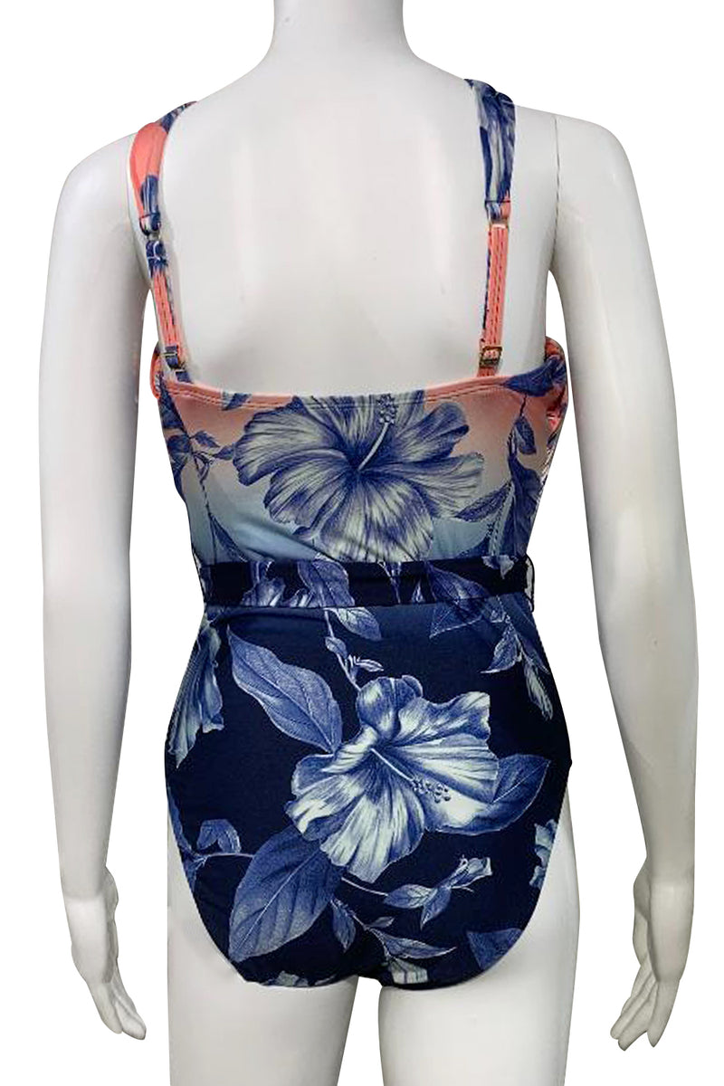 La Blanca: Ombre Floral Draped High Neck One Piece in Blue Moon