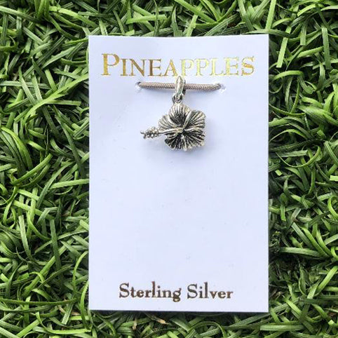 Sterling Silver Hibiscus Pendant-Small