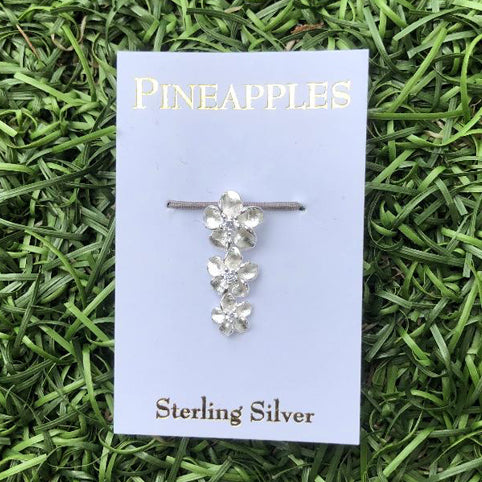 Sterling Silver Triple Plumeria Pendant with CZ centers