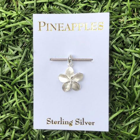 Sterling Silver Single Plumeria Pendant