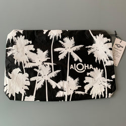 Aloha Collection: Coco Palms White on Black Mid Pouch