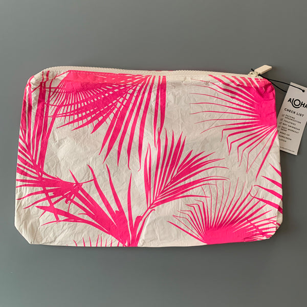 Aloha Collection: Neon Pink Palm Mid Pouch