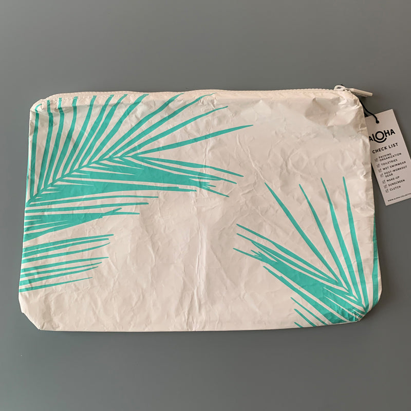 Aloha Collection: Neon Turquoise Palm Leaf Mid Pouch