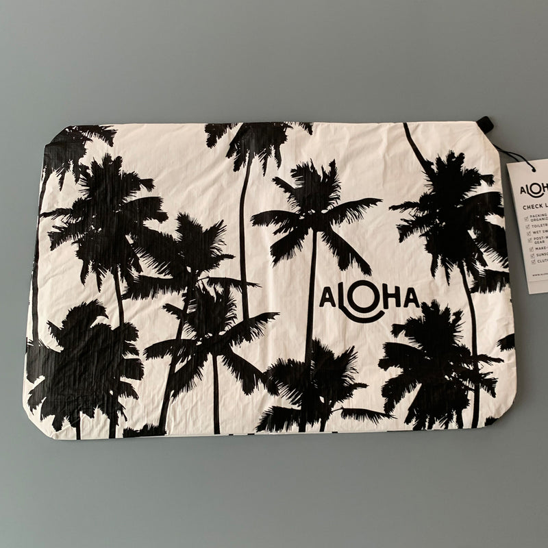 Aloha Collection: Coco Palms Black on White Mid Pouch