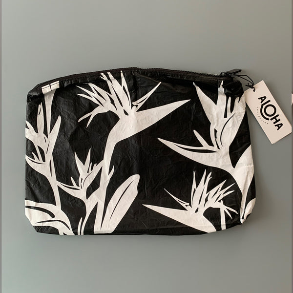 Aloha Collection: Bird of Paradise White/Black Mid Pouch