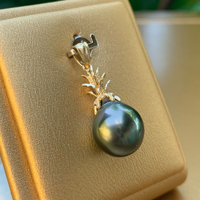 PC #114k 14k Yellow Gold Tahitian Pearl Pendant