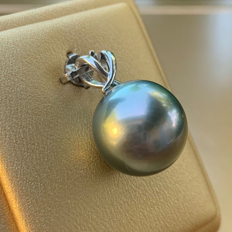 PC #714k 14k Yellow Gold Tahitian Pearl Pendant