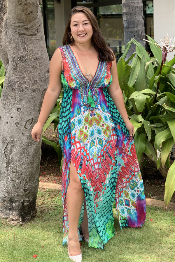 Pineapples Silk Coverup Maxi Dress Jungle Princes