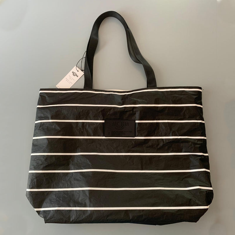 Aloha Collection: Tote Pinstripe Black & White Day Tripper