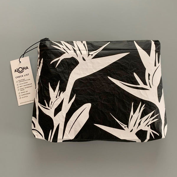 Aloha Collection: Small Birds Of Paradise Pouch White on Black