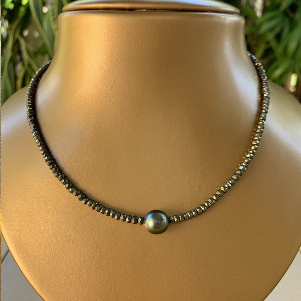 "16"" Natural Silver Pyrite with Tahitian pearl Necklace"