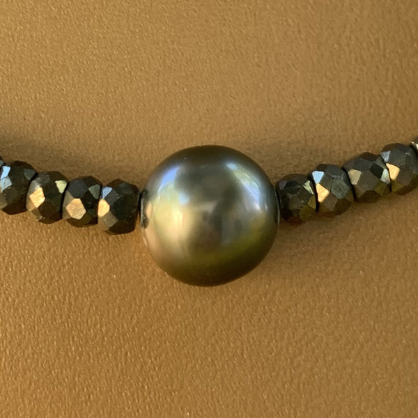 "18"" Natural Silver Pyrite with Tahitian Pearl Necklace"