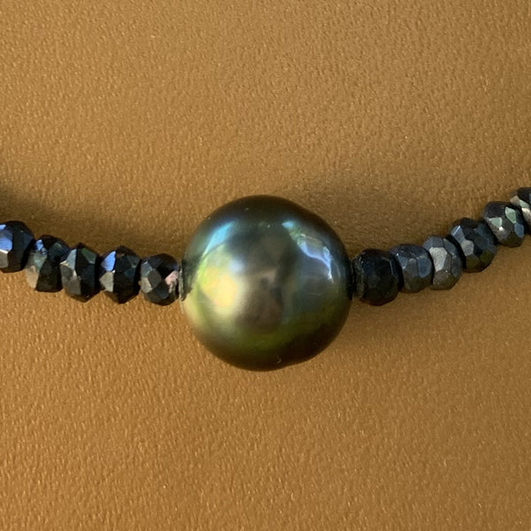 "16"" Black Spinel with Tahitian Pearl Necklace"