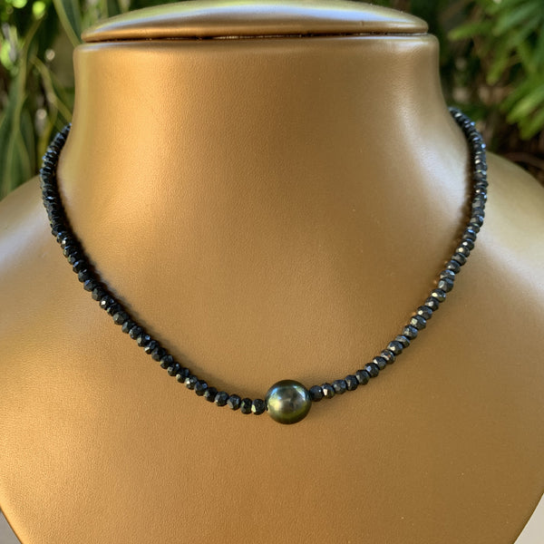 "16"" Gold Coated Pyrite with Tahitian Pearl Necklace"