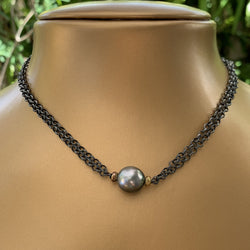 "15"" Double Link Silver Patina Chain with Tahitian Pearl Necklace"