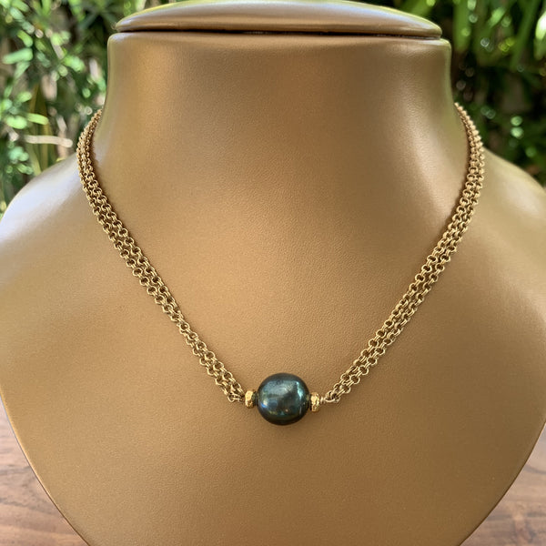 "15"" Double Link Gold Patina Chain with Tahitian Pearl Necklace"