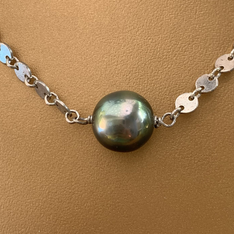 Sterling Silver Scale Link Tahitian Pearl Necklace