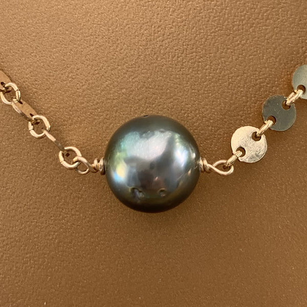 Gold Filled Scale Link Tahitian Pearl Necklace