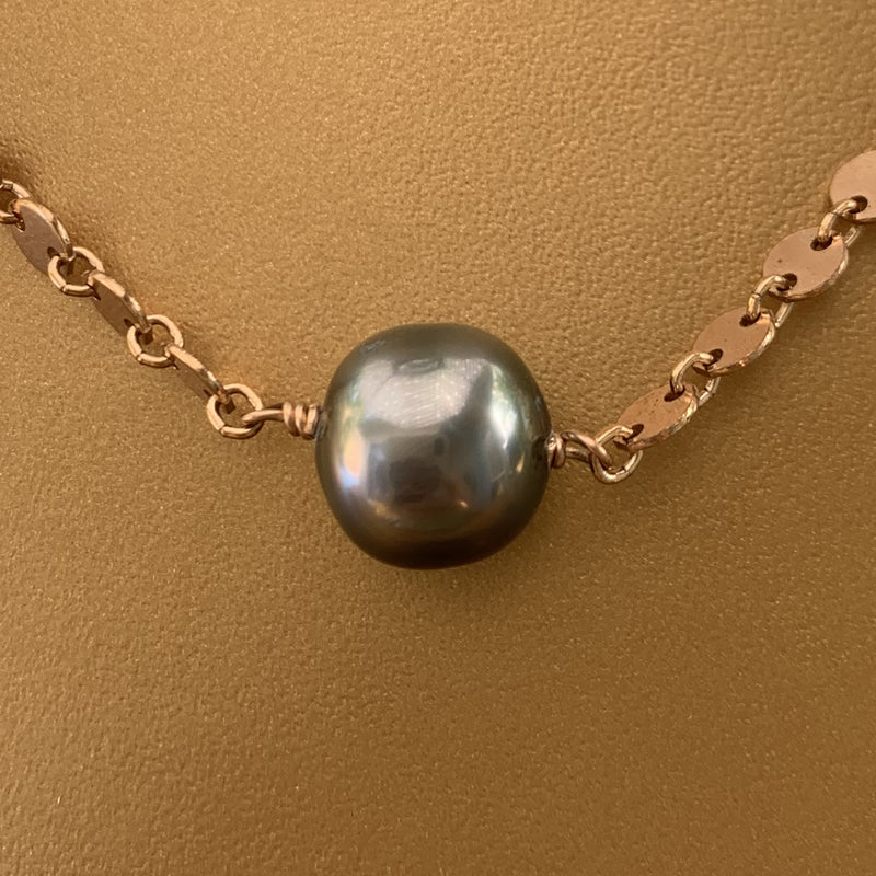 Rose Gold Filled Scale Link Tahitian Pearl Necklace