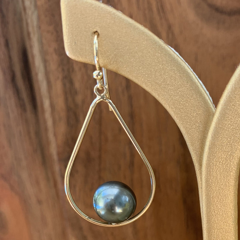 Gold Filled Teardrop Tahitian Pearl Dangle Earrings