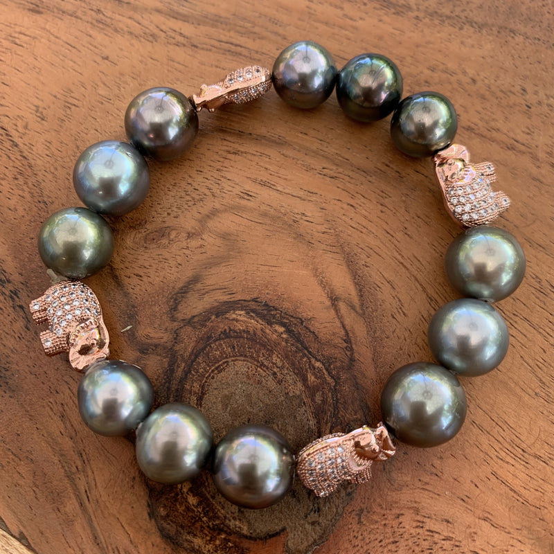 Elastic Tahitian Pearl Bracelet with Rose Gold Plated Lucky Elephant Charms.