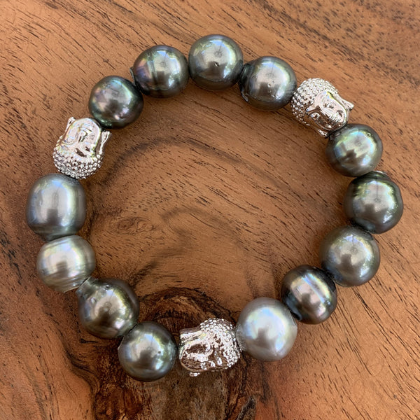 Elastic Tahitian Pearl Bracelet with Silver Rhodium Plated Buddha Charms